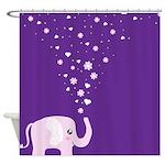 Cute Elephant Purple Shower Curtain