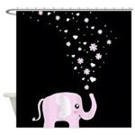 Cute Elephant Black Shower Curtain
