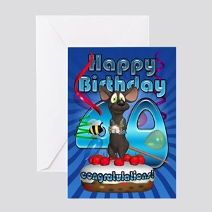 40th Birthday Greeting Card With Mouse And Cake