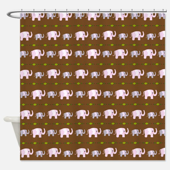 Cute elephant pattern Brown Shower Curtain