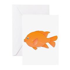 Garibaldi Damselfish fish Greeting Cards (Pk of 10