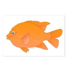 Garibaldi Damselfish fish Postcards (Package of 8)