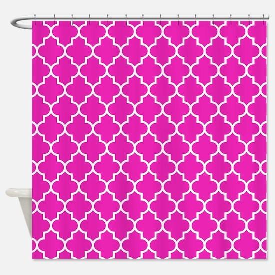Hot pink quatrefoil pattern Shower Curtain