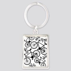 Bicycles Big and Small Portrait Keychain