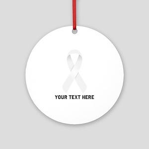 White Awareness Ribbon Customized Round Ornament
