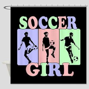 Cute Girls Soccer design Shower Curtain