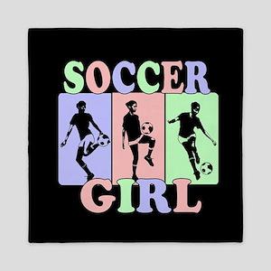 Cute Girls Soccer design Queen Duvet