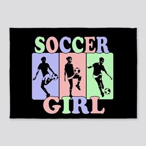 Cute Girls Soccer design 5'x7'Area Rug