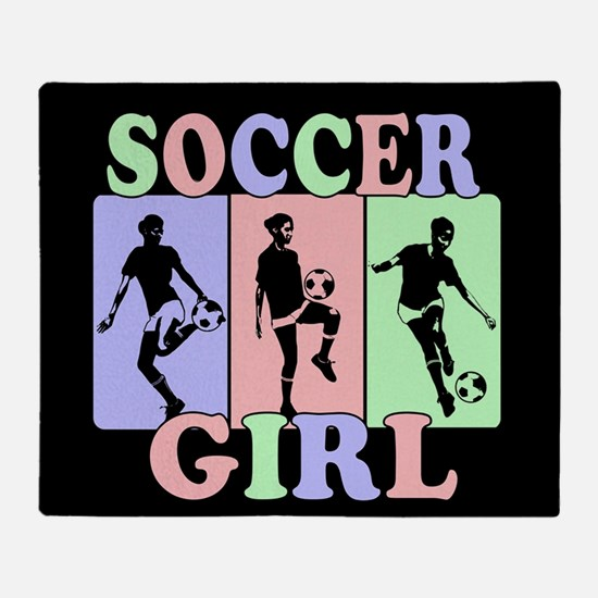 Cute Girls Soccer design Throw Blanket