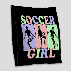 Cute Girls Soccer design Burlap Throw Pillow