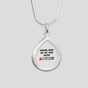 Proud Mom Of My Son With Autism Silver Teardrop Ne