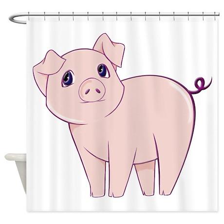 cute little piggy shower curtain by littlepiggystore. Black Bedroom Furniture Sets. Home Design Ideas