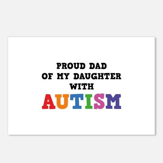 Proud Dad Of My Daughter With Autism Postcards (Pa
