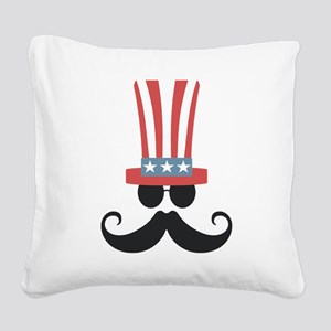 Patriotic Mustache Square Canvas Pillow