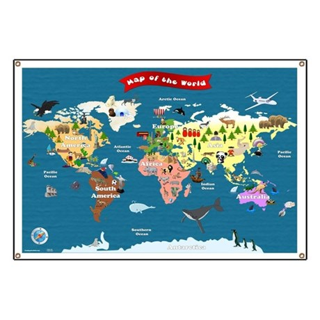World Map For Kids Lets Explore Banner By Funmapsforkids