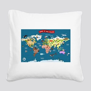 World Map For Kids - Lets Explore Square Canvas Pi