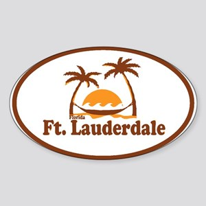 Fort Lauderdale - Palm Trees Design. Sticker (Oval
