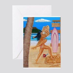BEACH CATFIGHT Greeting Card