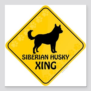 "Husky Xing Square Car Magnet 3"" x 3"""