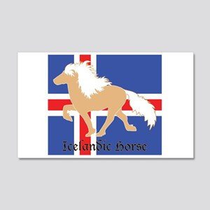 20x12 Wall Decal Palomino Icelandic horse w/ flag