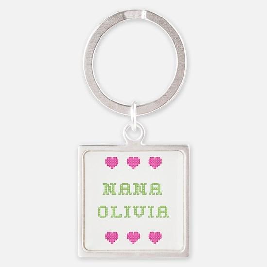 Nana Olivia Square Keychain