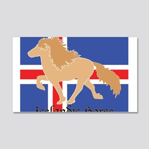 Dun Icelandic horse with Iceland flag Wall Decal