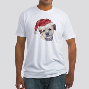 Christmas Border Terrier Fitted T-Shirt