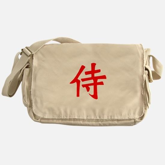 Samurai Kanji Red Messenger Bag