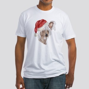 Christmas Chinese Crested dog Fitted T-Shirt