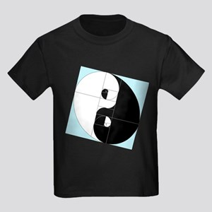 Golden Ratio Yin and Yang Kids Dark T-Shirt