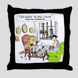Hunting With Automatics Throw Pillow
