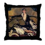 Deco Lady Borzoi Throw Pillow