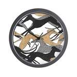 Leaping Hounds Wall Clock