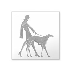 "Art Deco Lady And Borzoi Decal 3"" x 3"