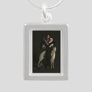 Art Deco White Borzoi Silver Portrait Necklace
