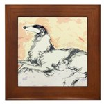 Borzoi Watercolor Framed Tile