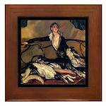 Deco Lady Borzoi Framed Tile