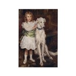 Girl And Borzoi Magnet Magnets