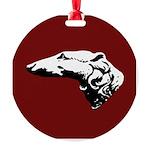 Borzoi Head Christmas Ornament Red