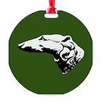 Borzoi Head Christmas Ornament Green