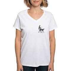 Deco Lady And Borzoi V-Neck T-Shirt