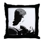 Art Deco Lady Pillow Black-White