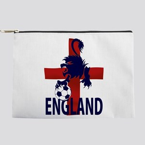 England Flag and lion with football Makeup Pouch