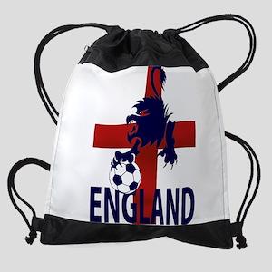 England Flag and lion with football Drawstring Bag