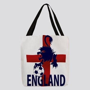 England Flag and lion with foot Polyester Tote Bag