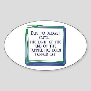 BUDGET CUTS Oval Sticker