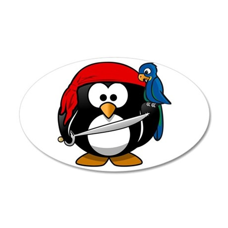 Pirate Penguin 20x12 Oval Wall Decal