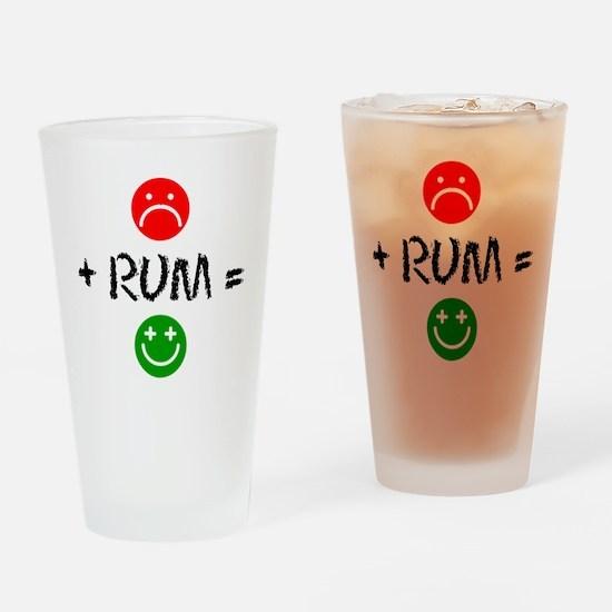 Plus Rum Equals Happy Drinking Glass