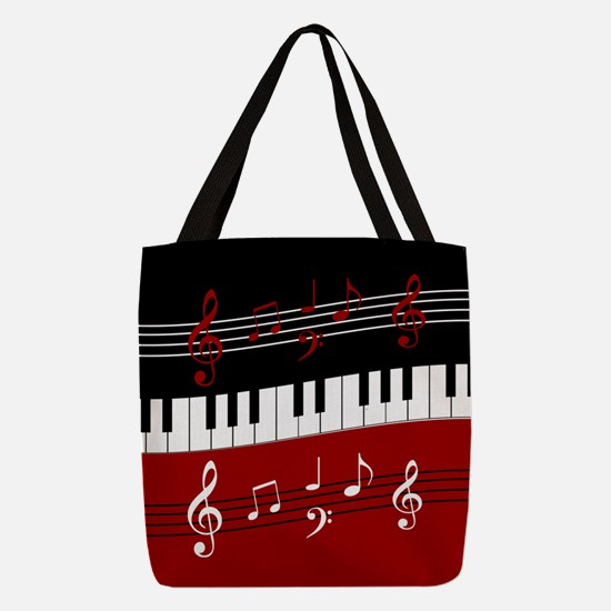 Stylish Piano keys and musical Polyester Tote Bag