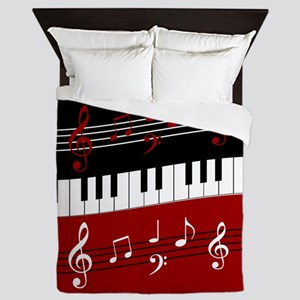 Stylish Piano keys and musical notes Queen Duvet